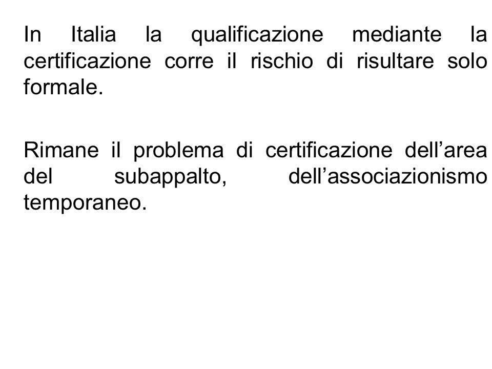 In Italia la qualificazione mediante la certificazione corre il rischio di risultare solo formale. Rimane il problema di certificazione dellarea del s