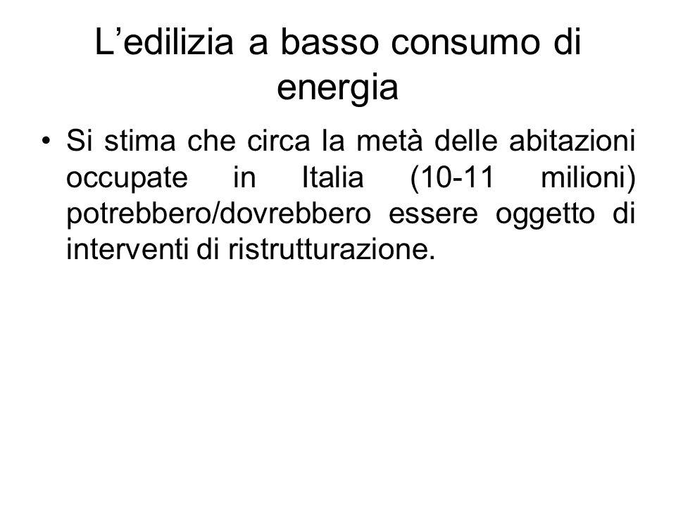 Ledilizia a basso consumo di energia Si stima che circa la metà delle abitazioni occupate in Italia (10-11 milioni) potrebbero/dovrebbero essere ogget