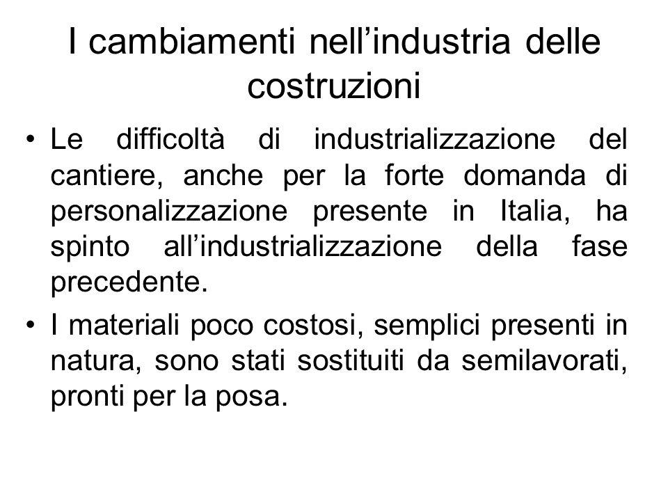 I cambiamenti nellindustria delle costruzioni Le difficoltà di industrializzazione del cantiere, anche per la forte domanda di personalizzazione prese