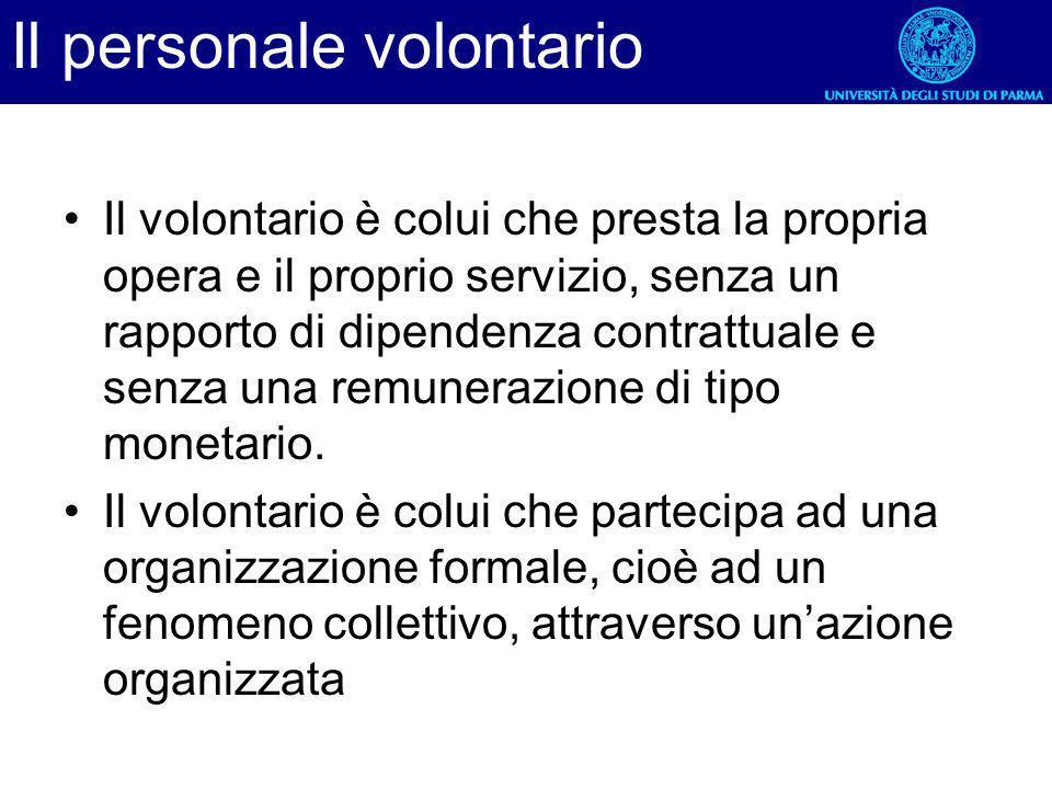 Il personale volontario Il volontario è colui che presta la propria opera e il proprio servizio, senza un rapporto di dipendenza contrattuale e senza