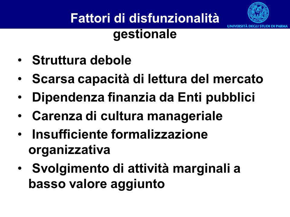 Fattori di disfunzionalità gestionale Struttura debole Scarsa capacità di lettura del mercato Dipendenza finanzia da Enti pubblici Carenza di cultura