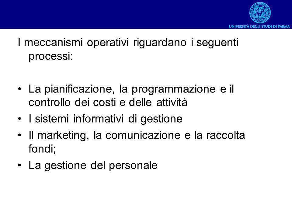 I meccanismi operativi riguardano i seguenti processi: La pianificazione, la programmazione e il controllo dei costi e delle attività I sistemi inform