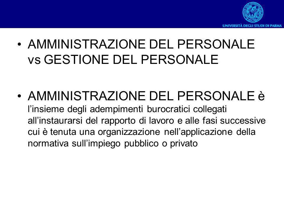 AMMINISTRAZIONE DEL PERSONALE vs GESTIONE DEL PERSONALE AMMINISTRAZIONE DEL PERSONALE è linsieme degli adempimenti burocratici collegati allinstaurars