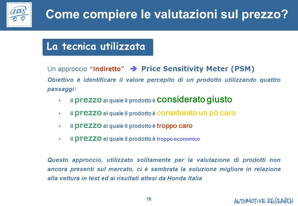 18 Un approccio indiretto Price Sensitivity Meter (PSM) Obiettivo è identificare il valore percepito di un prodotto utilizzando quattro passaggi: il p