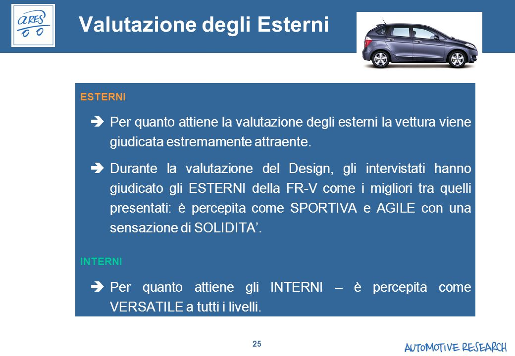 25 Valutazione degli Esterni ESTERNI Per quanto attiene la valutazione degli esterni la vettura viene giudicata estremamente attraente. Durante la val