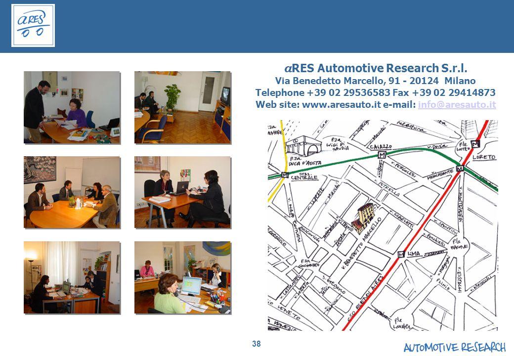 38 a RES Automotive Research S.r.l. Via Benedetto Marcello, 91 - 20124 Milano Telephone +39 02 29536583 Fax +39 02 29414873 Web site: www.aresauto.it