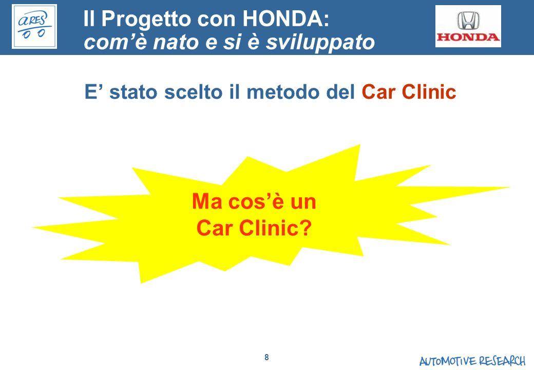 8 E stato scelto il metodo del Car Clinic Ma cosè un Car Clinic? Il Progetto con HONDA: comè nato e si è sviluppato
