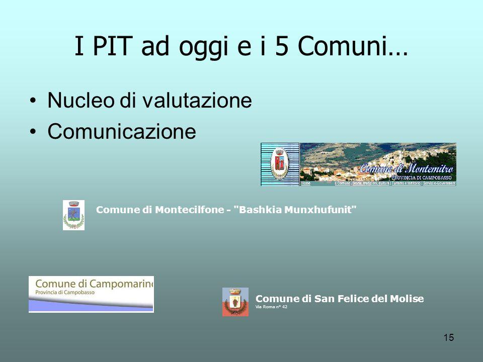 15 Comune di Montecilfone - Bashkia Munxhufunit Comune di San Felice del Molise Via Roma n° 42 I PIT ad oggi e i 5 Comuni… Nucleo di valutazione Comunicazione