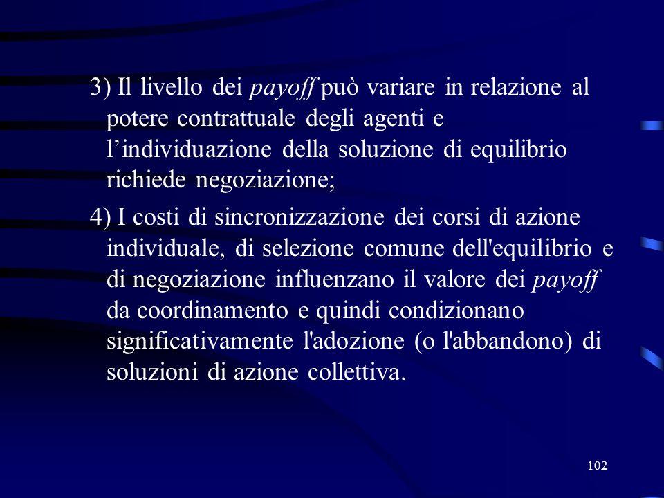 102 3) Il livello dei payoff può variare in relazione al potere contrattuale degli agenti e lindividuazione della soluzione di equilibrio richiede negoziazione; 4) I costi di sincronizzazione dei corsi di azione individuale, di selezione comune dell equilibrio e di negoziazione influenzano il valore dei payoff da coordinamento e quindi condizionano significativamente l adozione (o l abbandono) di soluzioni di azione collettiva.