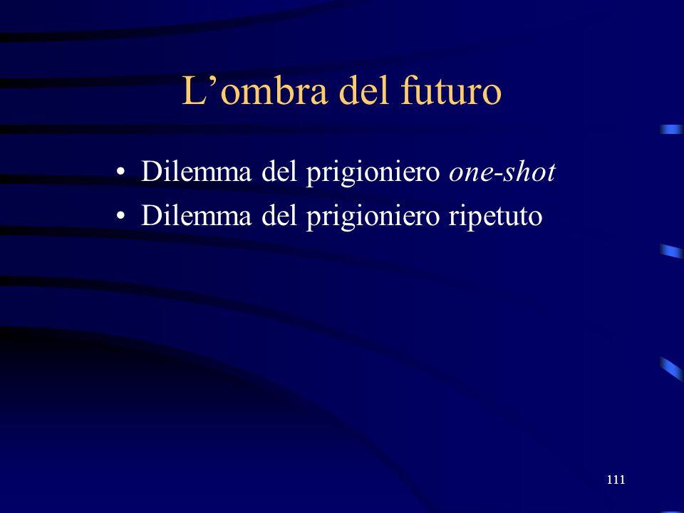 111 Lombra del futuro Dilemma del prigioniero one-shot Dilemma del prigioniero ripetuto