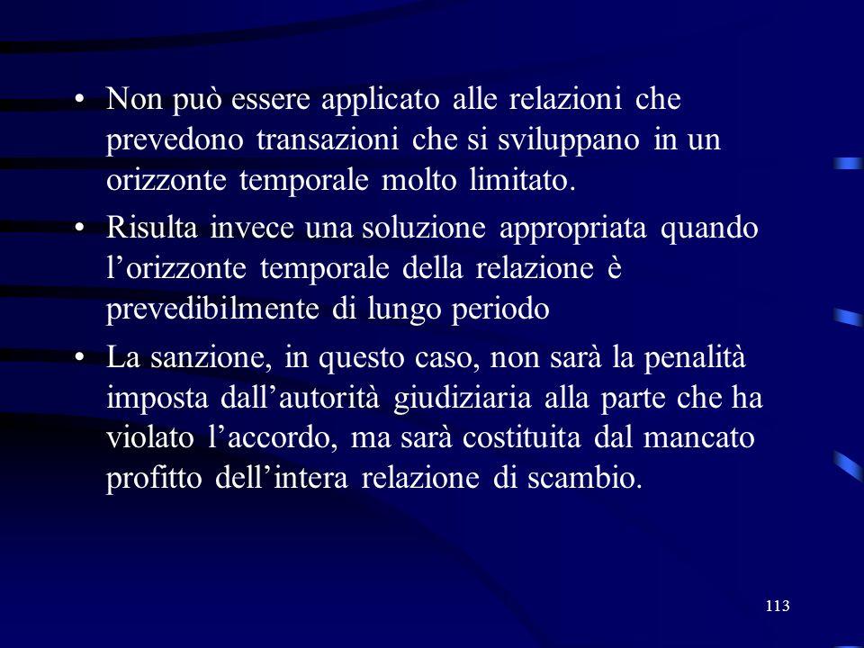 113 Non può essere applicato alle relazioni che prevedono transazioni che si sviluppano in un orizzonte temporale molto limitato.