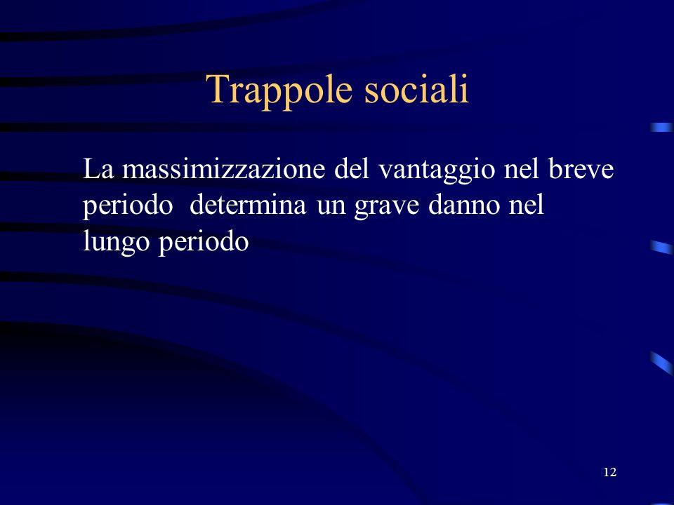12 Trappole sociali La massimizzazione del vantaggio nel breve periodo determina un grave danno nel lungo periodo