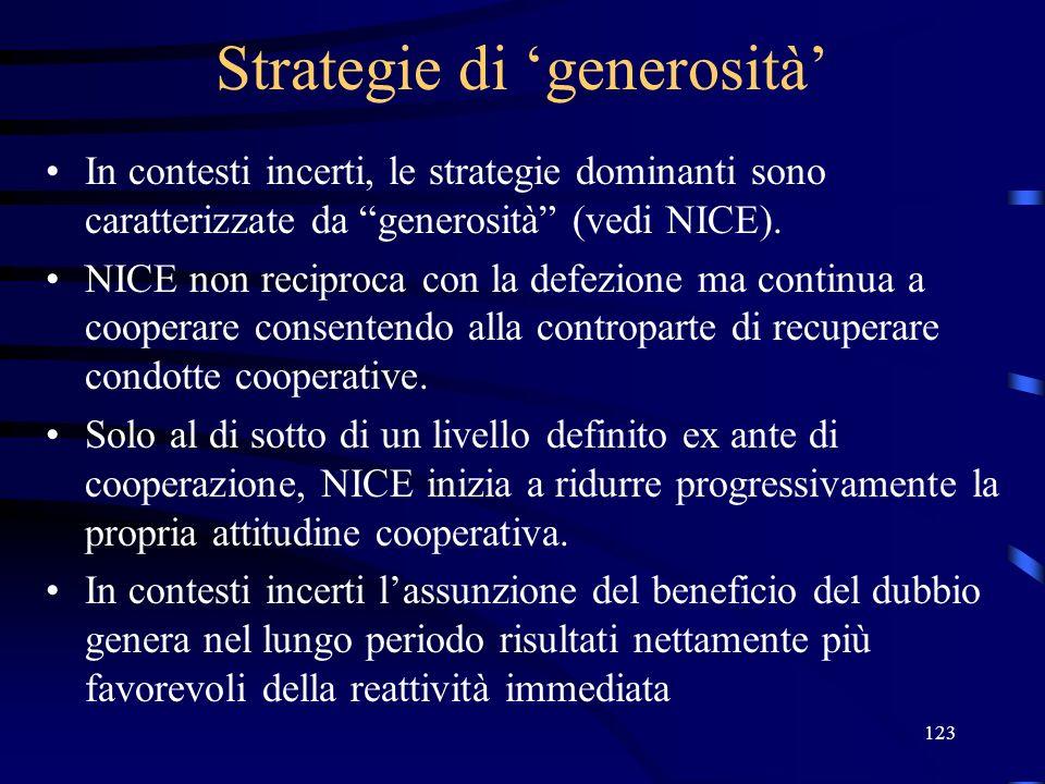 123 Strategie di generosità In contesti incerti, le strategie dominanti sono caratterizzate da generosità (vedi NICE).