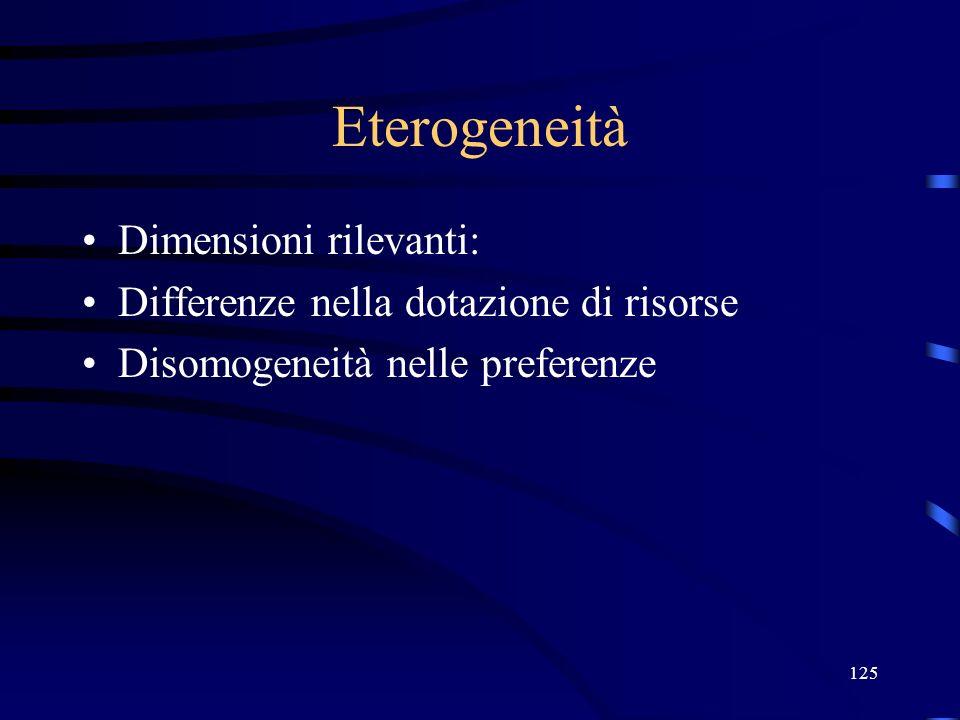 125 Eterogeneità Dimensioni rilevanti: Differenze nella dotazione di risorse Disomogeneità nelle preferenze