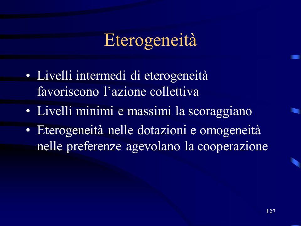 127 Eterogeneità Livelli intermedi di eterogeneità favoriscono lazione collettiva Livelli minimi e massimi la scoraggiano Eterogeneità nelle dotazioni e omogeneità nelle preferenze agevolano la cooperazione