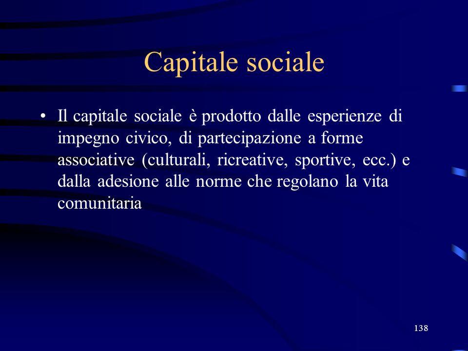 138 Capitale sociale Il capitale sociale è prodotto dalle esperienze di impegno civico, di partecipazione a forme associative (culturali, ricreative, sportive, ecc.) e dalla adesione alle norme che regolano la vita comunitaria