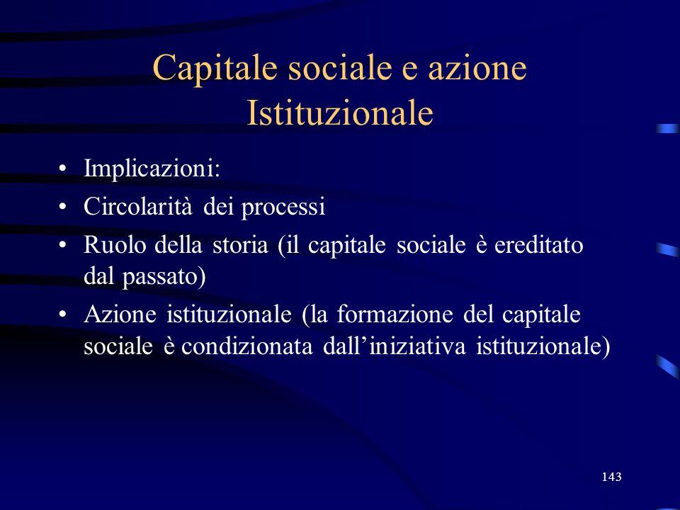 143 Capitale sociale e azione Istituzionale Implicazioni: Circolarità dei processi Ruolo della storia (il capitale sociale è ereditato dal passato) Azione istituzionale (la formazione del capitale sociale è condizionata dalliniziativa istituzionale)