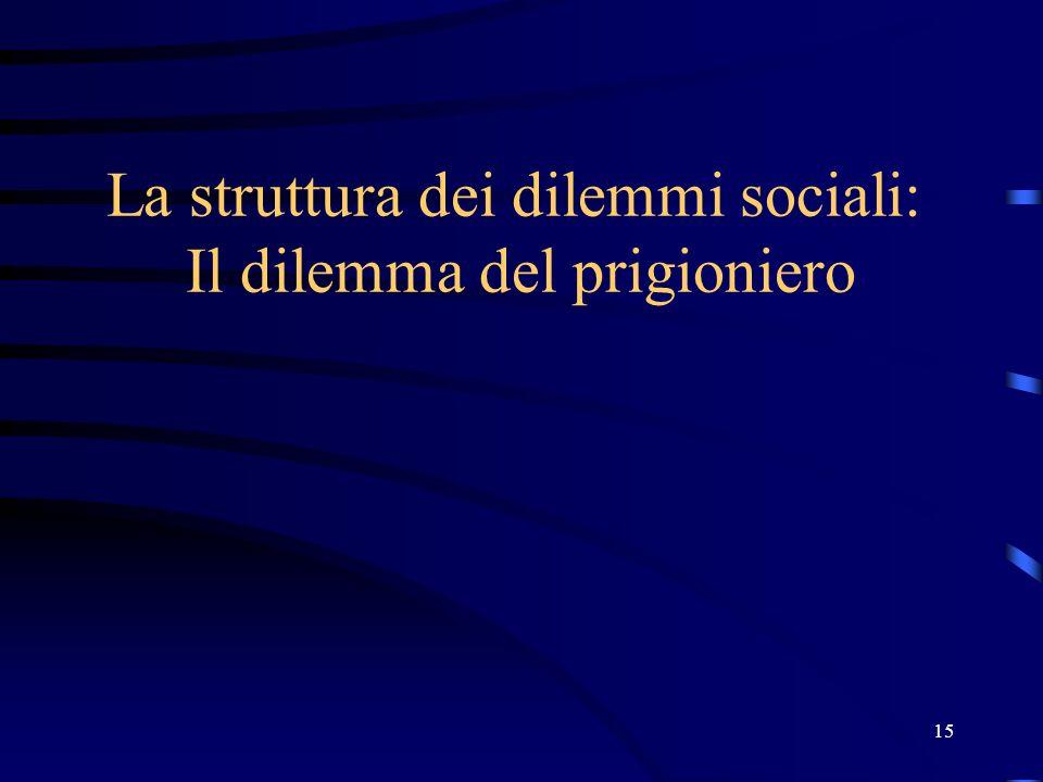 15 La struttura dei dilemmi sociali: Il dilemma del prigioniero