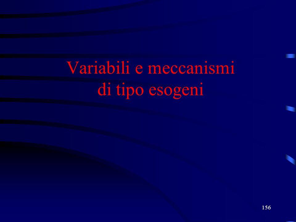 156 Variabili e meccanismi di tipo esogeni
