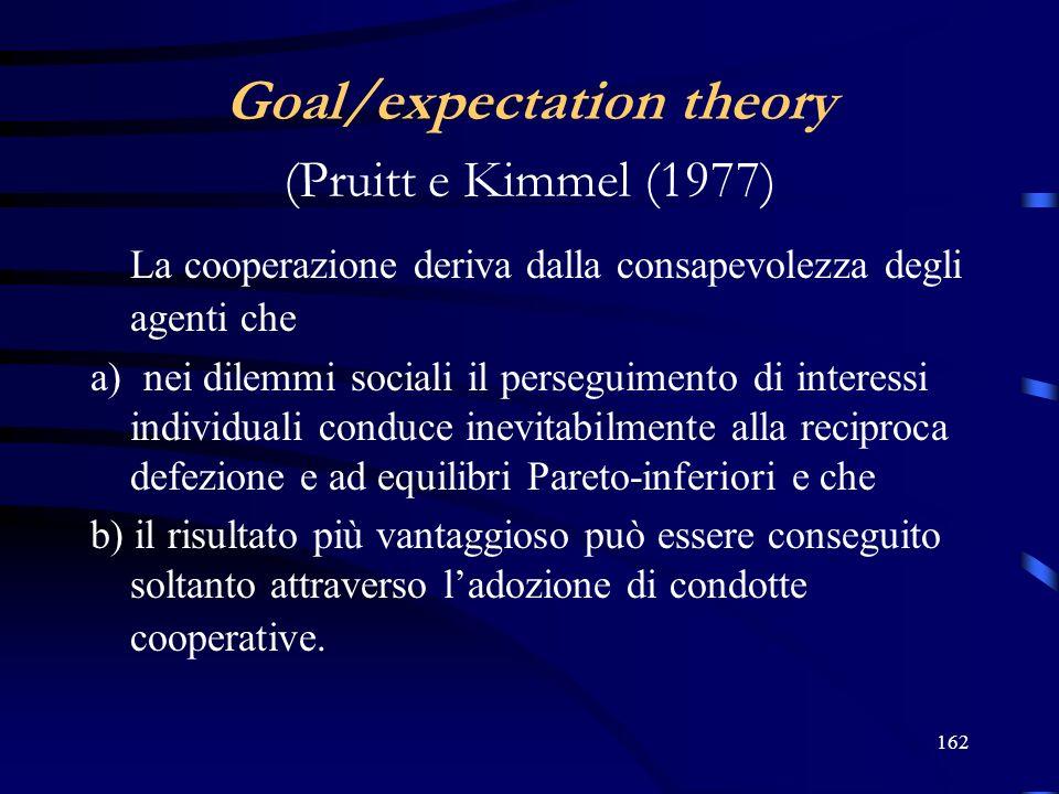 162 Goal/expectation theory (Pruitt e Kimmel (1977) La cooperazione deriva dalla consapevolezza degli agenti che a) nei dilemmi sociali il perseguimento di interessi individuali conduce inevitabilmente alla reciproca defezione e ad equilibri Pareto-inferiori e che b) il risultato più vantaggioso può essere conseguito soltanto attraverso ladozione di condotte cooperative.