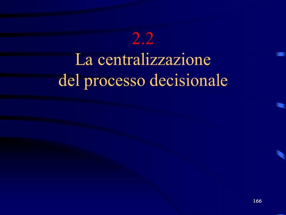 166 2.2 La centralizzazione del processo decisionale
