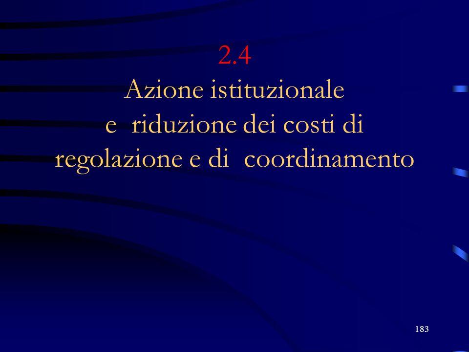 183 2.4 Azione istituzionale e riduzione dei costi di regolazione e di coordinamento