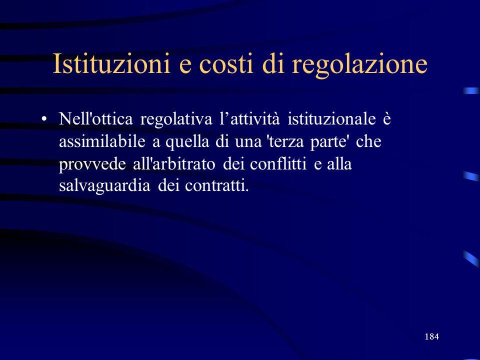 184 Istituzioni e costi di regolazione Nell ottica regolativa lattività istituzionale è assimilabile a quella di una terza parte che provvede all arbitrato dei conflitti e alla salvaguardia dei contratti.