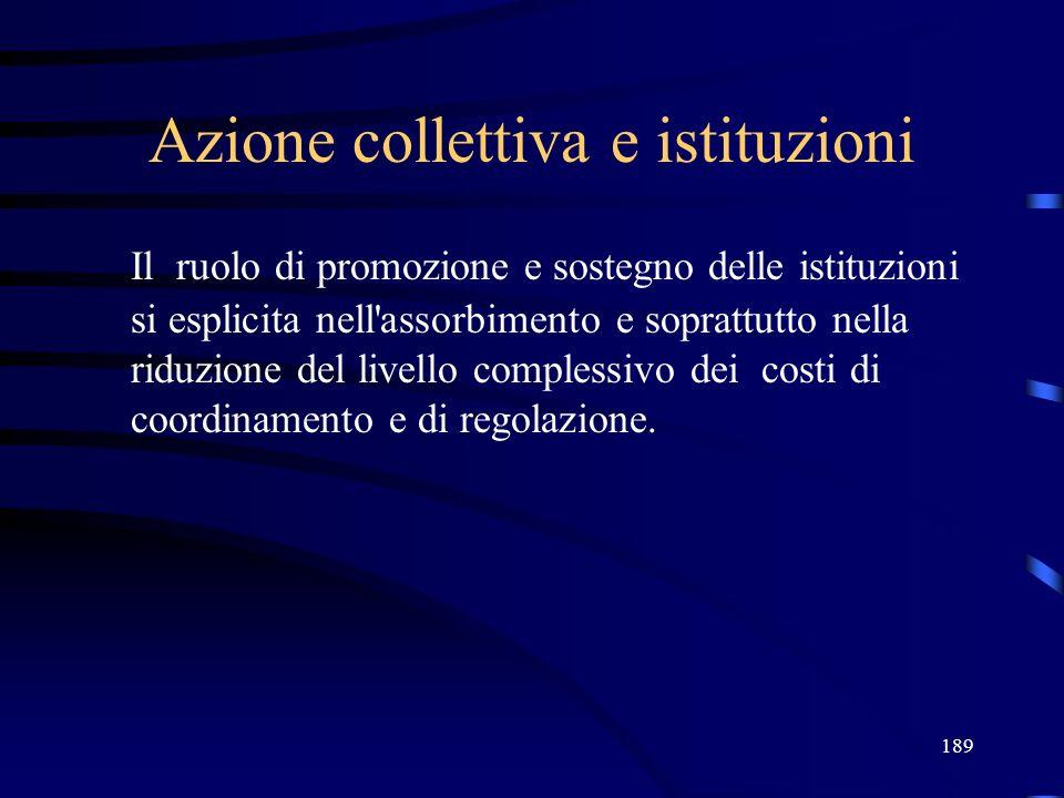 189 Azione collettiva e istituzioni Il ruolo di promozione e sostegno delle istituzioni si esplicita nell assorbimento e soprattutto nella riduzione del livello complessivo dei costi di coordinamento e di regolazione.