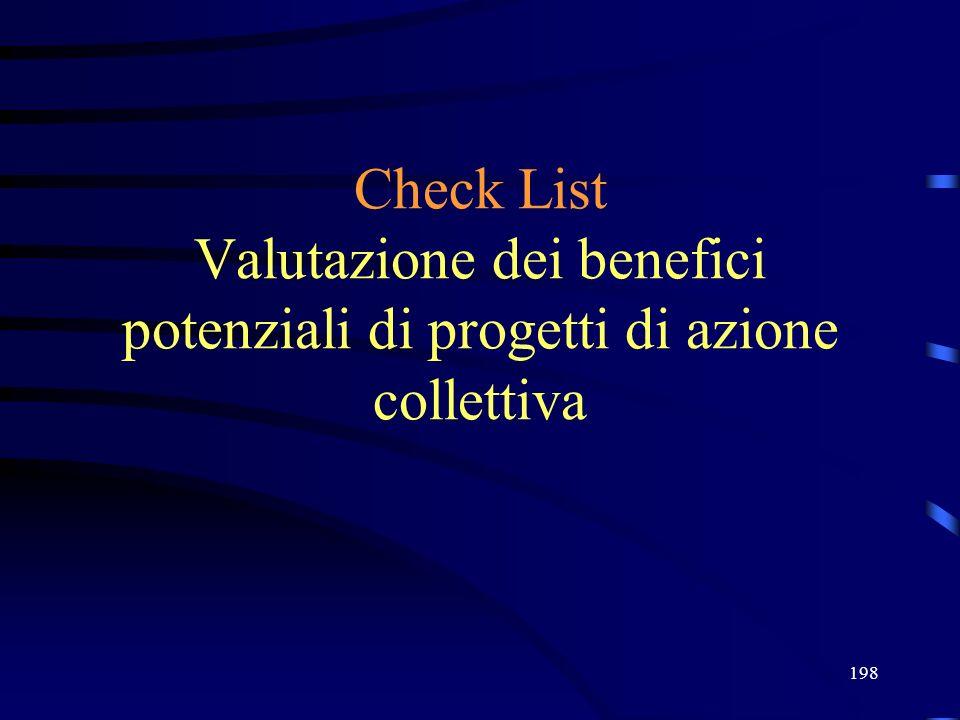 198 Check List Valutazione dei benefici potenziali di progetti di azione collettiva