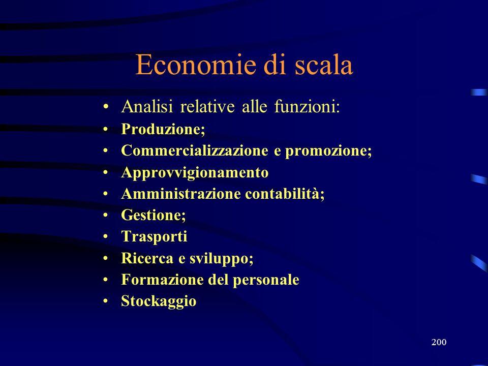 200 Economie di scala Analisi relative alle funzioni: Produzione; Commercializzazione e promozione; Approvvigionamento Amministrazione contabilità; Gestione; Trasporti Ricerca e sviluppo; Formazione del personale Stockaggio
