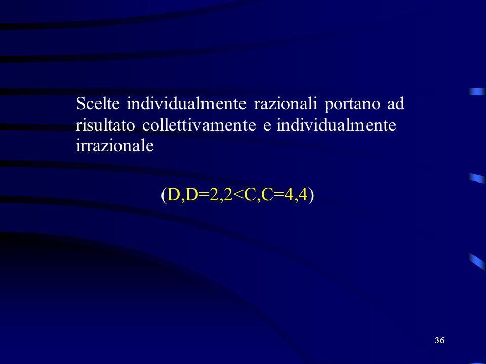 36 Scelte individualmente razionali portano ad risultato collettivamente e individualmente irrazionale (D,D=2,2<C,C=4,4)