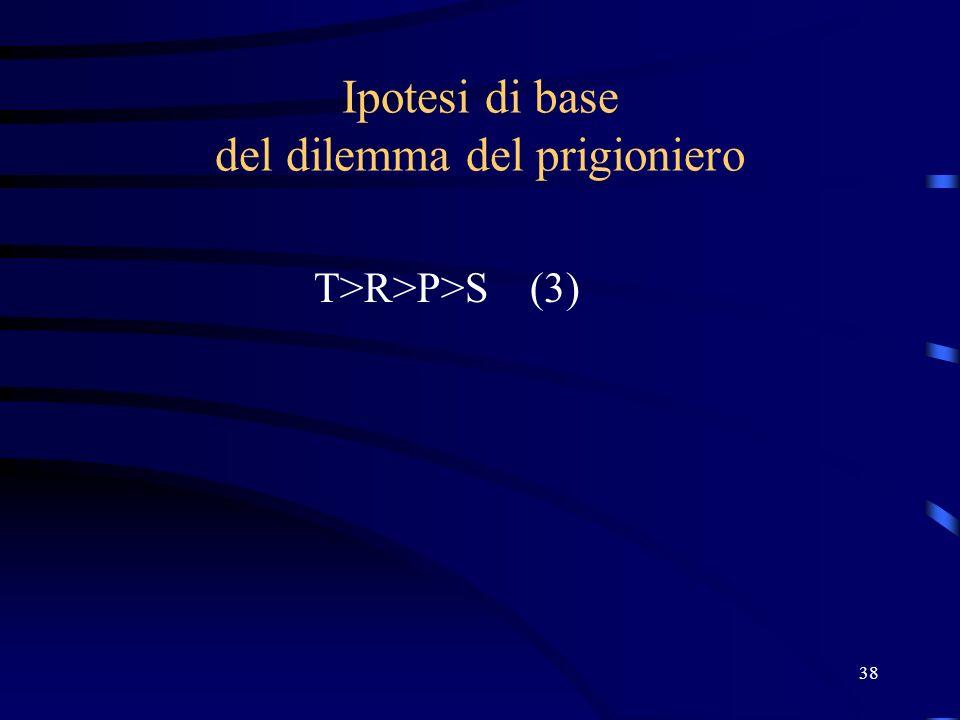 38 Ipotesi di base del dilemma del prigioniero T>R>P>S (3)