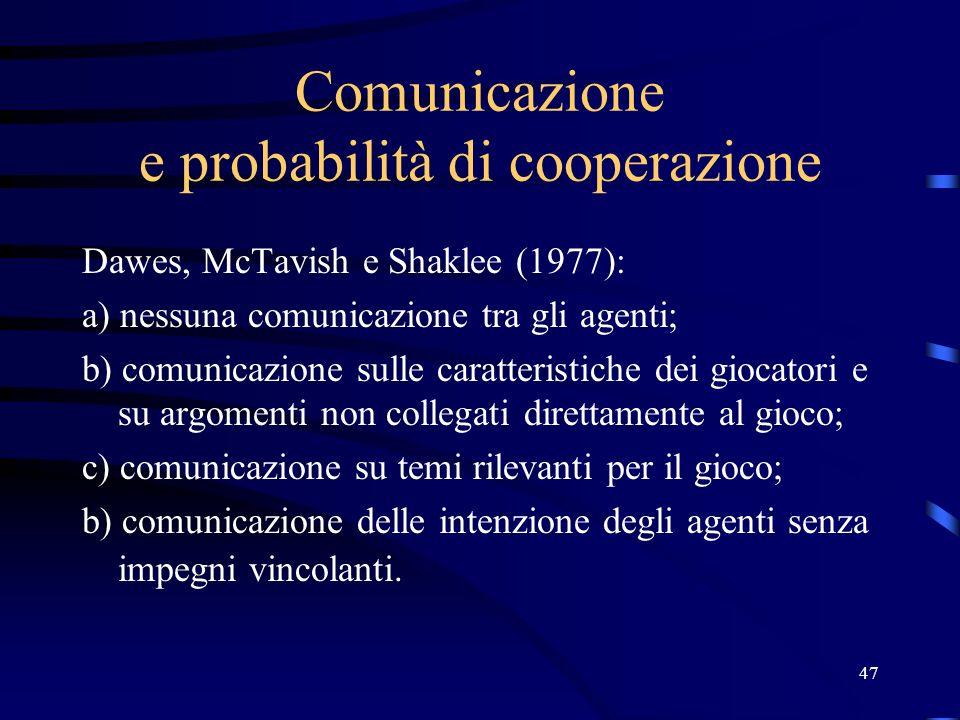 47 Comunicazione e probabilità di cooperazione Dawes, McTavish e Shaklee (1977): a) nessuna comunicazione tra gli agenti; b) comunicazione sulle caratteristiche dei giocatori e su argomenti non collegati direttamente al gioco; c) comunicazione su temi rilevanti per il gioco; b) comunicazione delle intenzione degli agenti senza impegni vincolanti.
