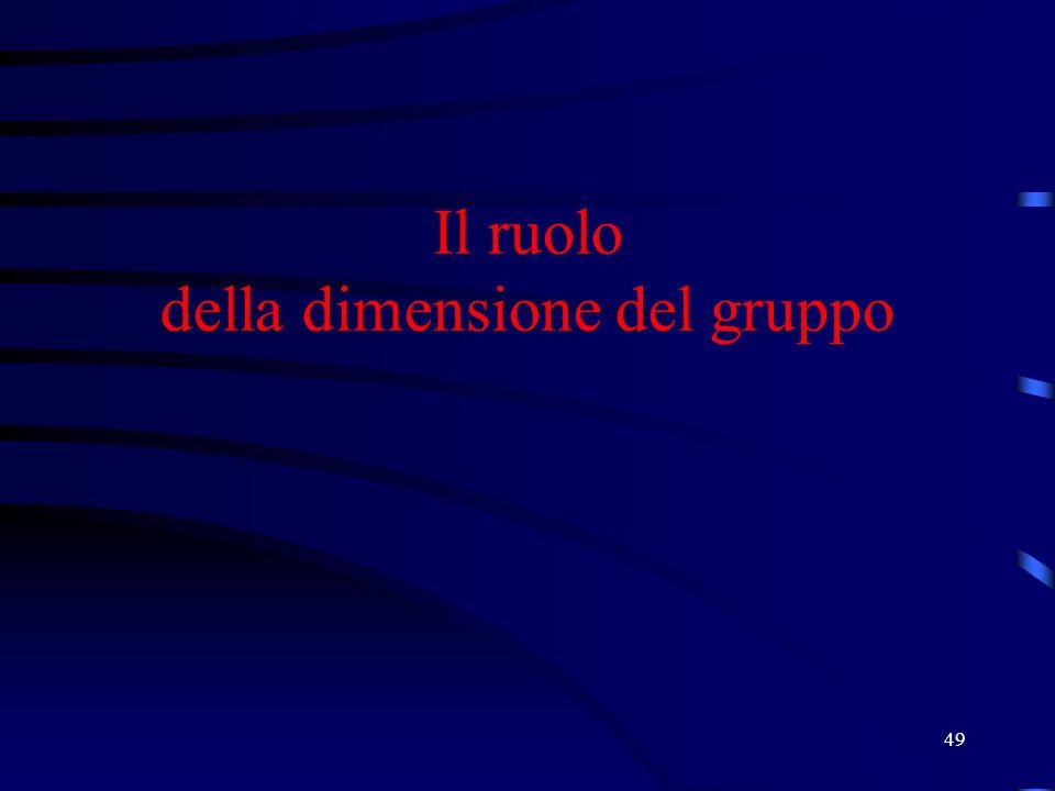 49 Il ruolo della dimensione del gruppo