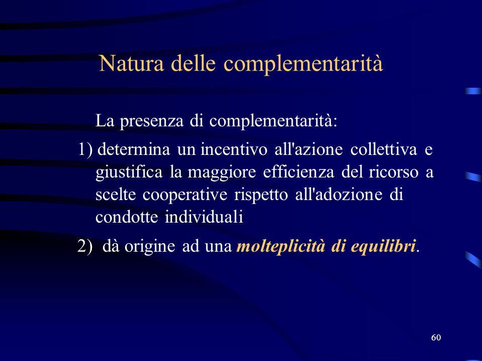 60 Natura delle complementarità La presenza di complementarità: 1) determina un incentivo all azione collettiva e giustifica la maggiore efficienza del ricorso a scelte cooperative rispetto all adozione di condotte individuali 2) dà origine ad una molteplicità di equilibri.