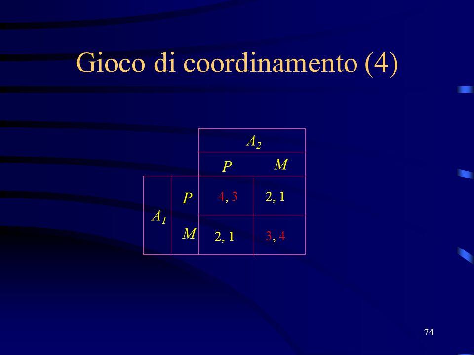 74 Gioco di coordinamento (4) P M P M A2A2 A1A1 3, 4 4, 32, 1