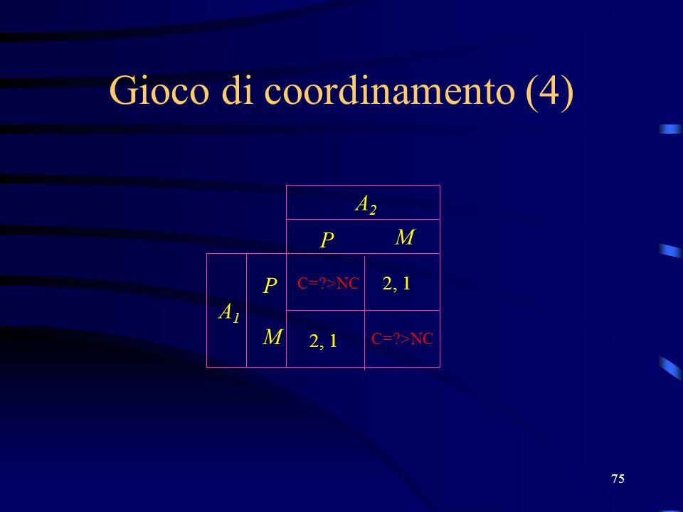 75 Gioco di coordinamento (4) P M P M A2A2 A1A1 C= >NC 2, 1