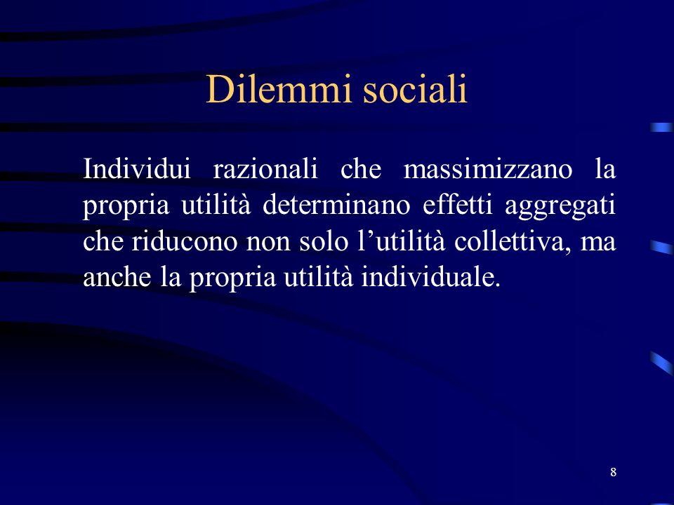 8 Dilemmi sociali Individui razionali che massimizzano la propria utilità determinano effetti aggregati che riducono non solo lutilità collettiva, ma anche la propria utilità individuale.