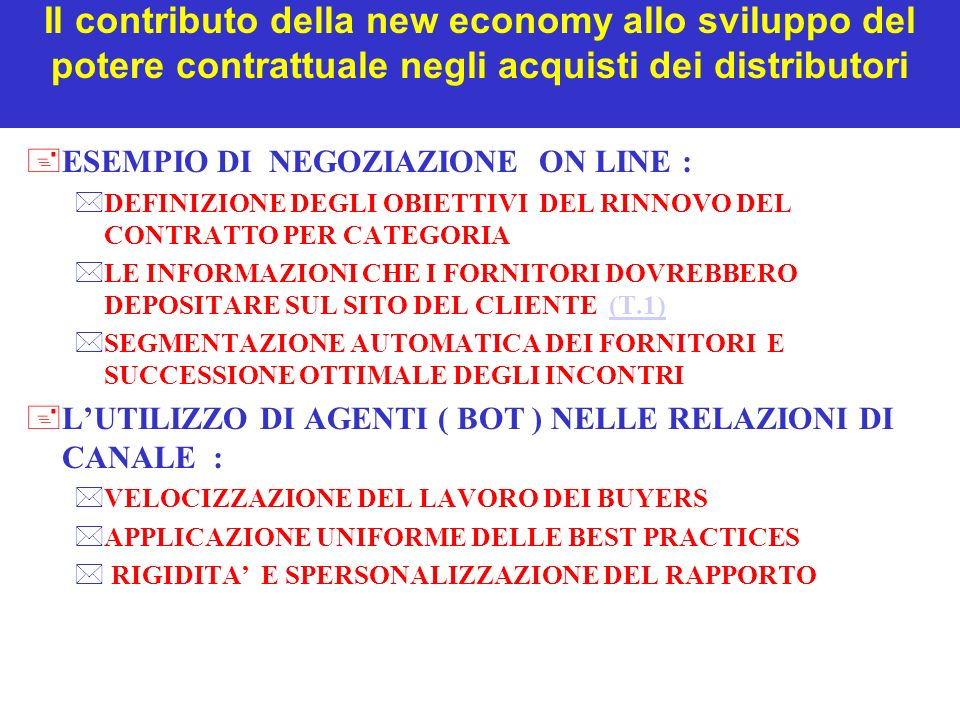 Il contributo della new economy allo sviluppo del potere contrattuale negli acquisti dei distributori +ESEMPIO DI NEGOZIAZIONE ON LINE : *DEFINIZIONE DEGLI OBIETTIVI DEL RINNOVO DEL CONTRATTO PER CATEGORIA *LE INFORMAZIONI CHE I FORNITORI DOVREBBERO DEPOSITARE SUL SITO DEL CLIENTE (T.1)(T.1) *SEGMENTAZIONE AUTOMATICA DEI FORNITORI E SUCCESSIONE OTTIMALE DEGLI INCONTRI +LUTILIZZO DI AGENTI ( BOT ) NELLE RELAZIONI DI CANALE : *VELOCIZZAZIONE DEL LAVORO DEI BUYERS *APPLICAZIONE UNIFORME DELLE BEST PRACTICES * RIGIDITA E SPERSONALIZZAZIONE DEL RAPPORTO