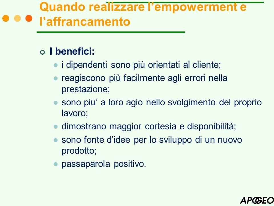 I benefici: i dipendenti sono più orientati al cliente; reagiscono più facilmente agli errori nella prestazione; sono piu a loro agio nello svolgiment