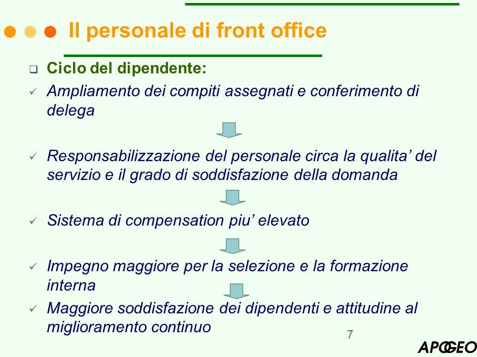 7 Ciclo del dipendente: Ampliamento dei compiti assegnati e conferimento di delega Responsabilizzazione del personale circa la qualita del servizio e