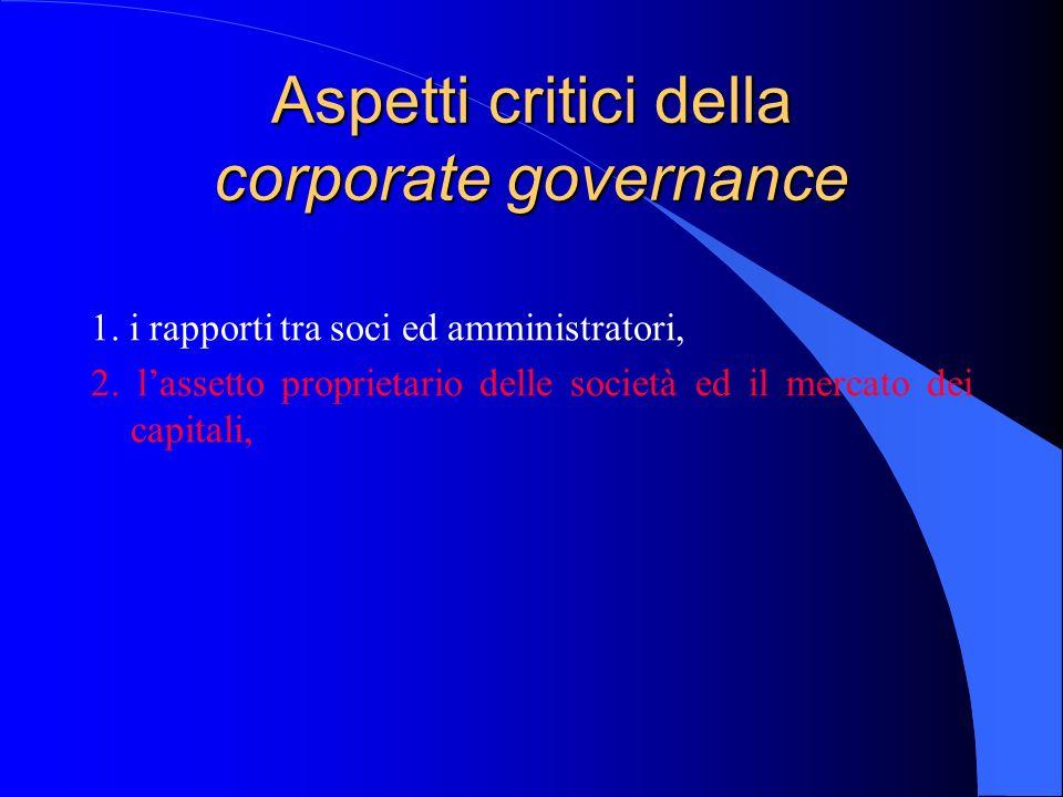 Aspetti critici della corporate governance 1. i rapporti tra soci ed amministratori, 2. lassetto proprietario delle società ed il mercato dei capitali