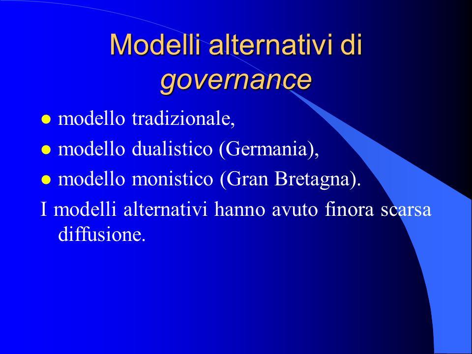 Modelli alternativi di governance l modello tradizionale, l modello dualistico (Germania), l modello monistico (Gran Bretagna). I modelli alternativi
