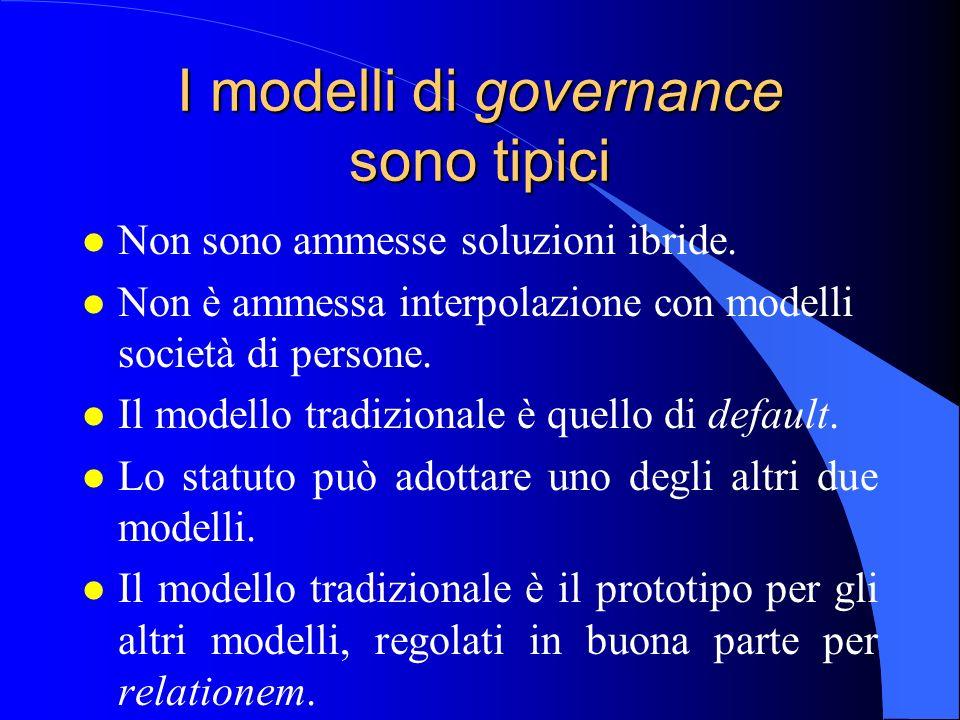 I modelli di governance sono tipici l Non sono ammesse soluzioni ibride. l Non è ammessa interpolazione con modelli società di persone. l Il modello t