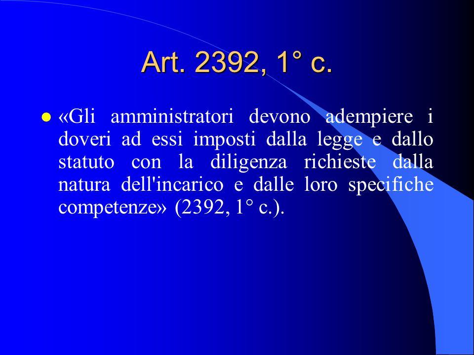 Art. 2392, 1° c. l «Gli amministratori devono adempiere i doveri ad essi imposti dalla legge e dallo statuto con la diligenza richieste dalla natura d