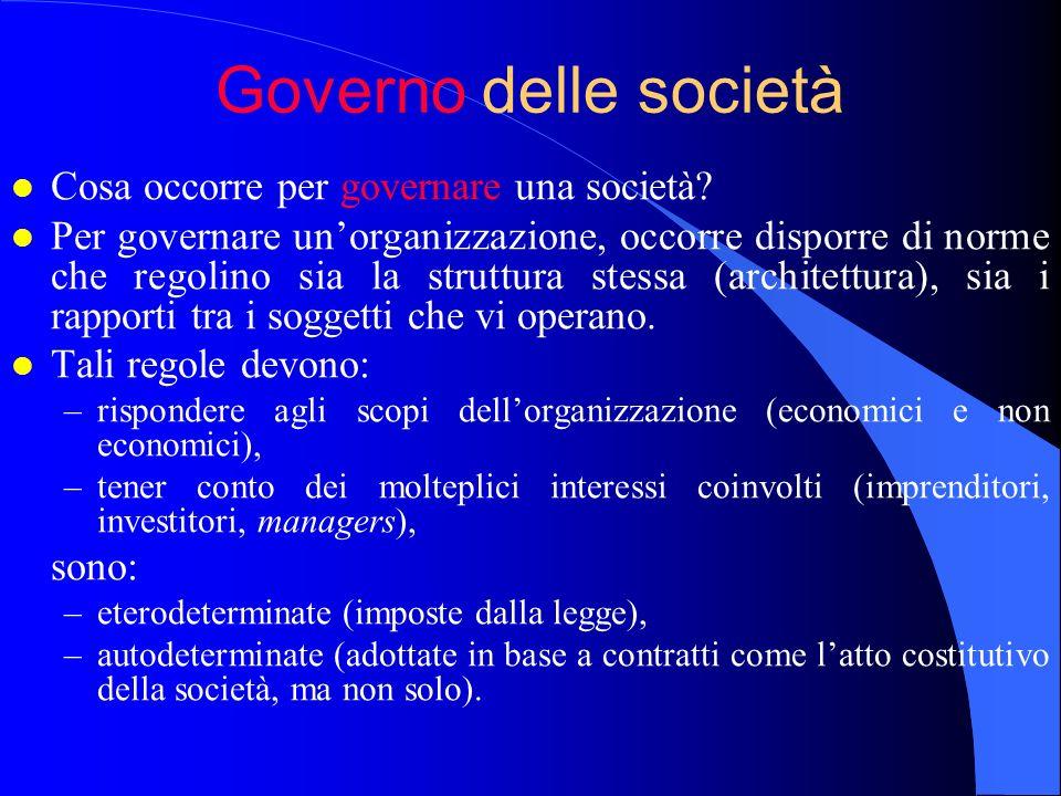 Governo delle società l Cosa occorre per governare una società? l Per governare unorganizzazione, occorre disporre di norme che regolino sia la strutt