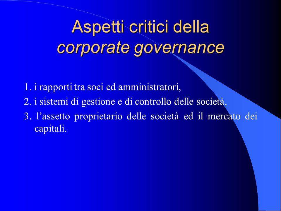 Aspetti critici della corporate governance 1. i rapporti tra soci ed amministratori, 2. i sistemi di gestione e di controllo delle società, 3. lassett