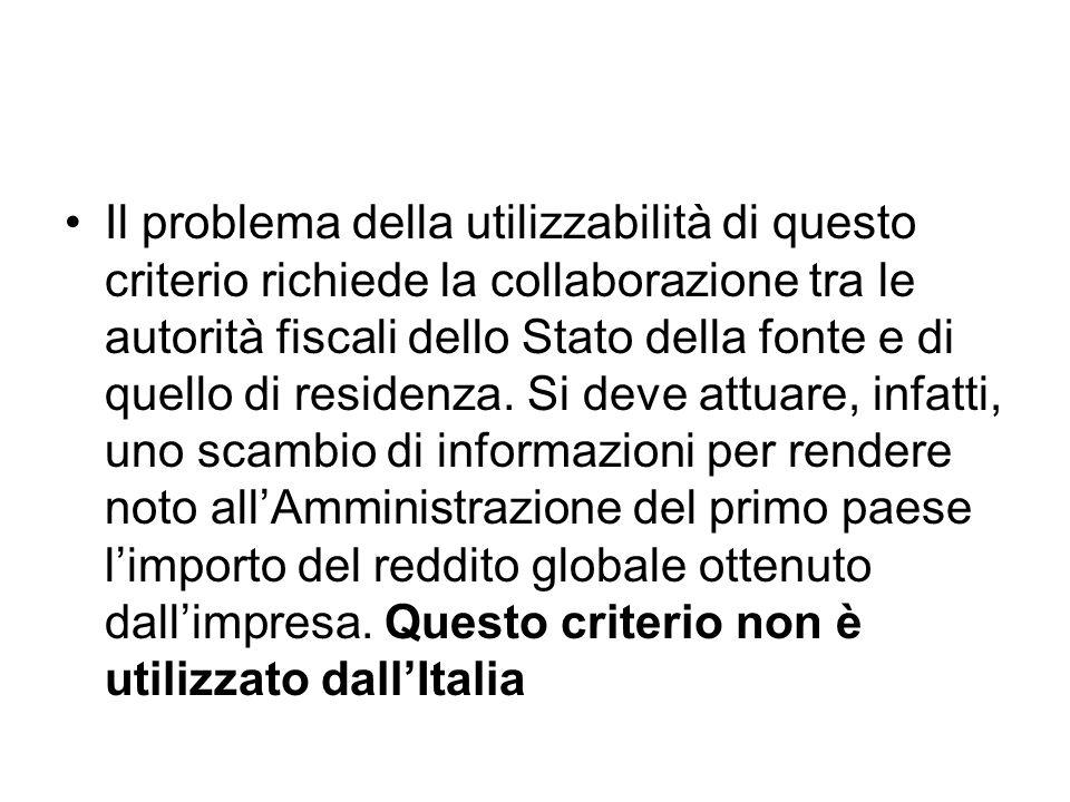 Il problema della utilizzabilità di questo criterio richiede la collaborazione tra le autorità fiscali dello Stato della fonte e di quello di residenza.