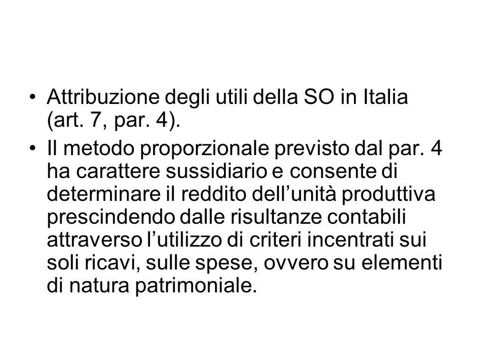 Attribuzione degli utili della SO in Italia (art. 7, par.