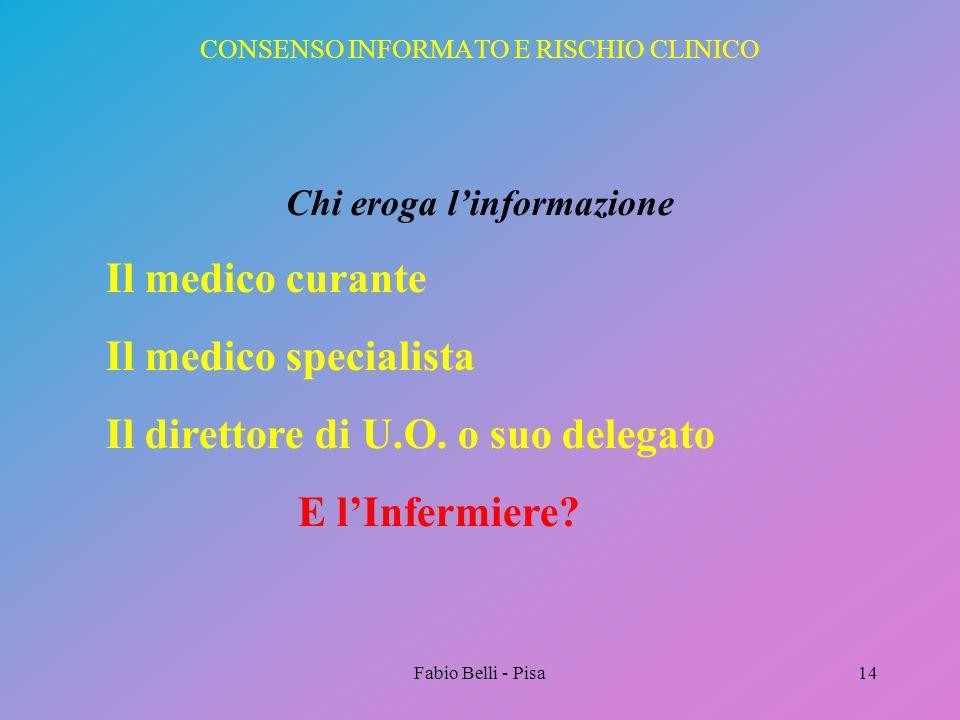 Fabio Belli - Pisa14 CONSENSO INFORMATO E RISCHIO CLINICO Chi eroga linformazione Il medico curante Il medico specialista Il direttore di U.O. o suo d